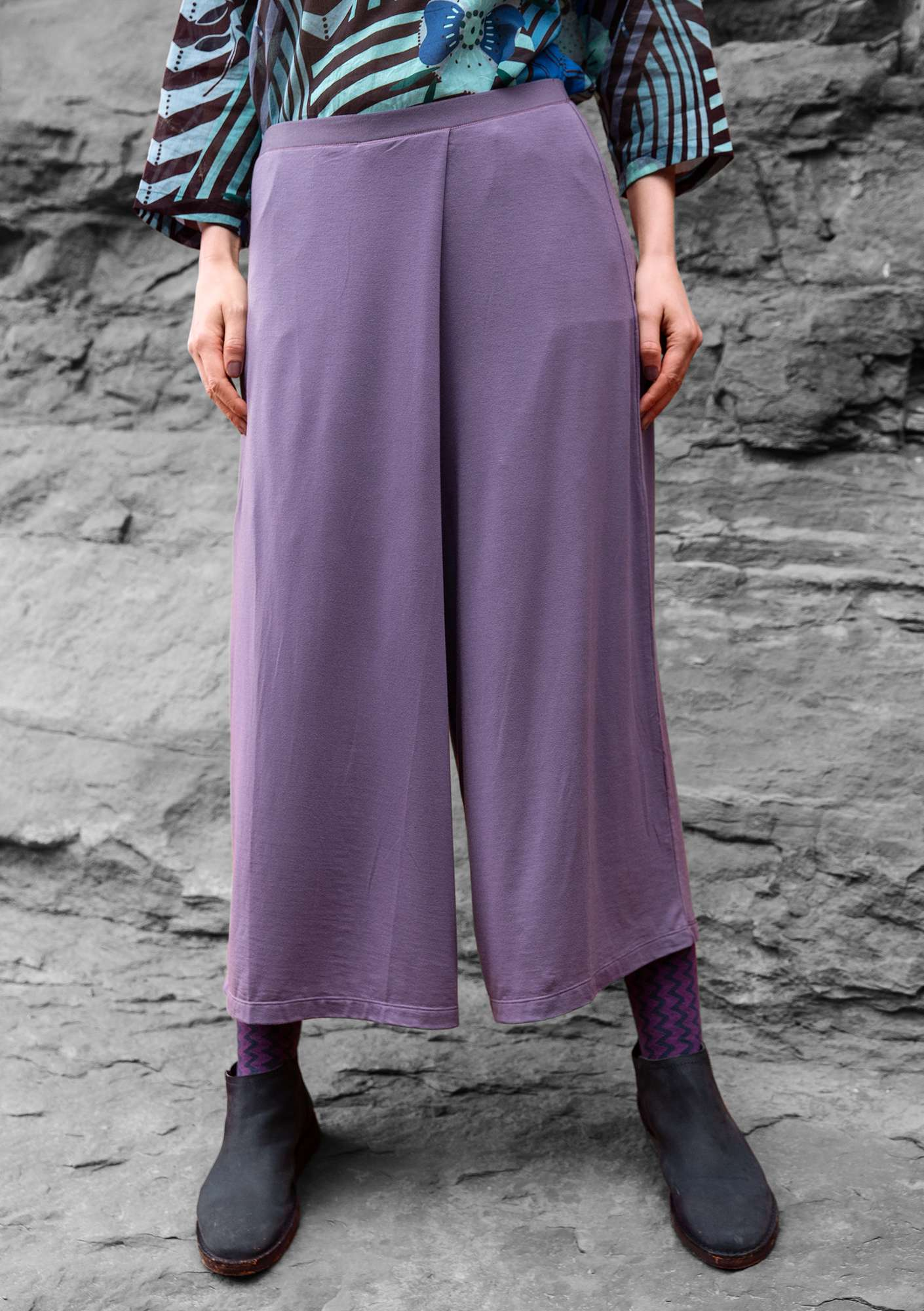 """Paradise"" pants in lyocell/spandex muted violet"