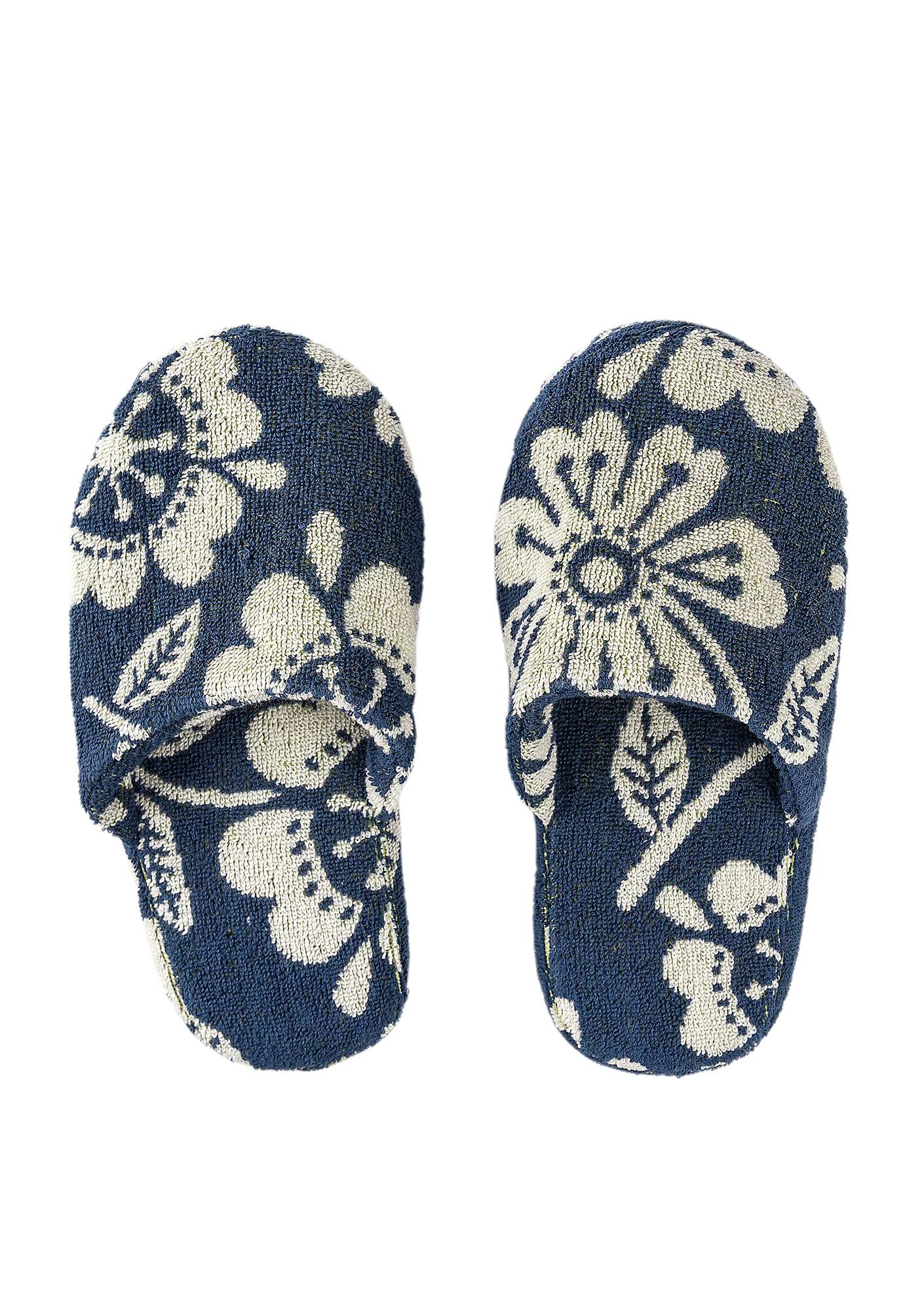 """Okinawa"" terry slippers in organic cotton midnight blue"