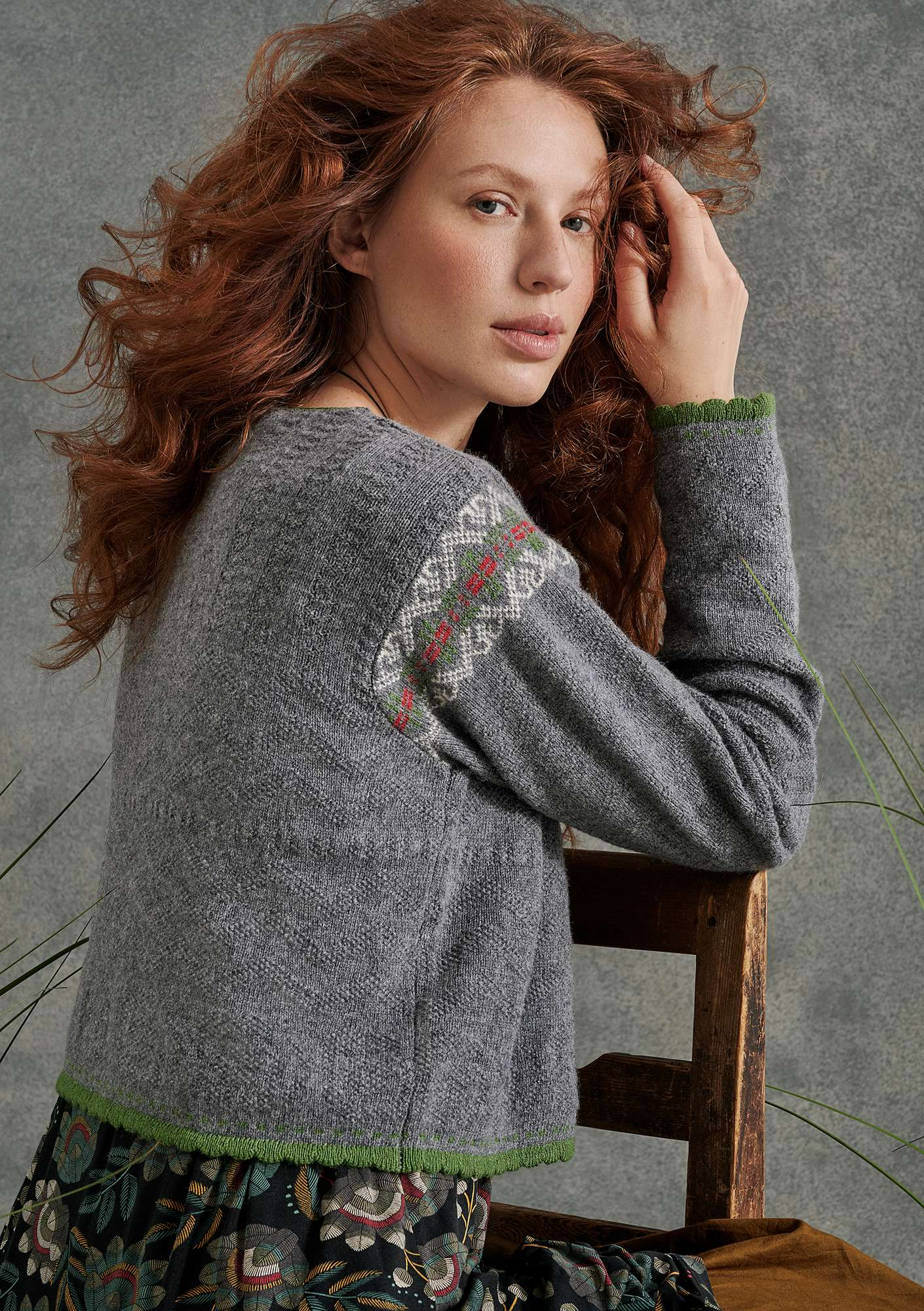 """Mora"" cardigan in an alpaca blend/recycled wool gray melange"