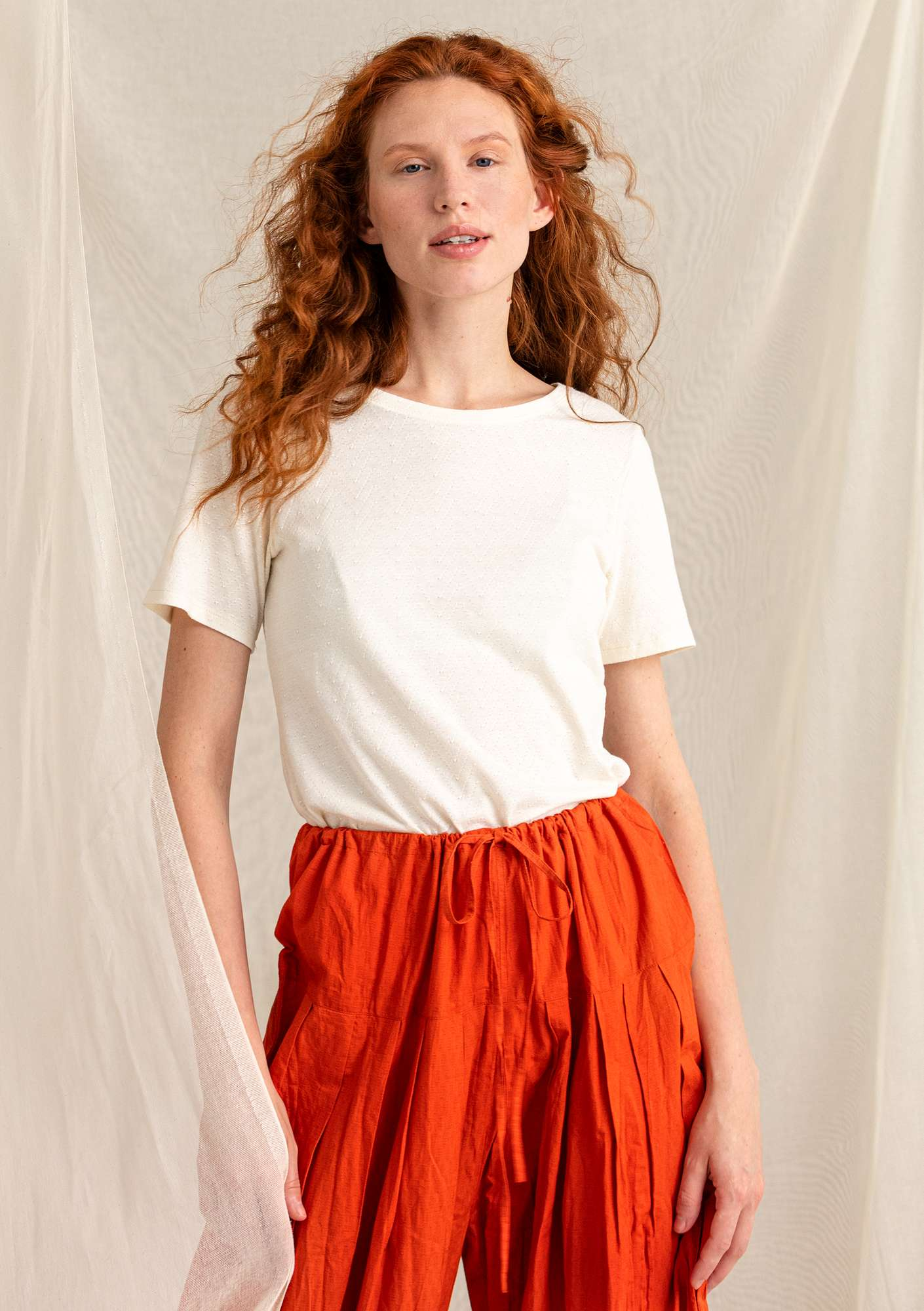 Pointelle top in organic cotton/modal ecru