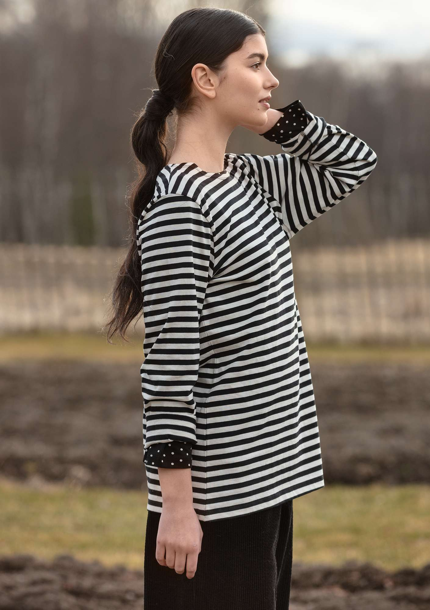 Organic cotton block-striped top black/ecru
