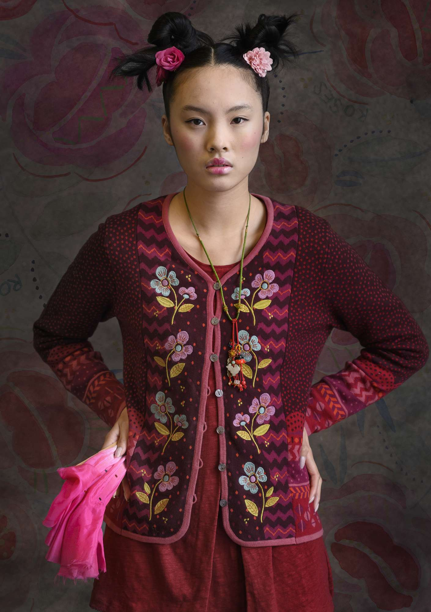 """Hermosa"" cardigan made of recycled cotton/organic cotton aubergine"