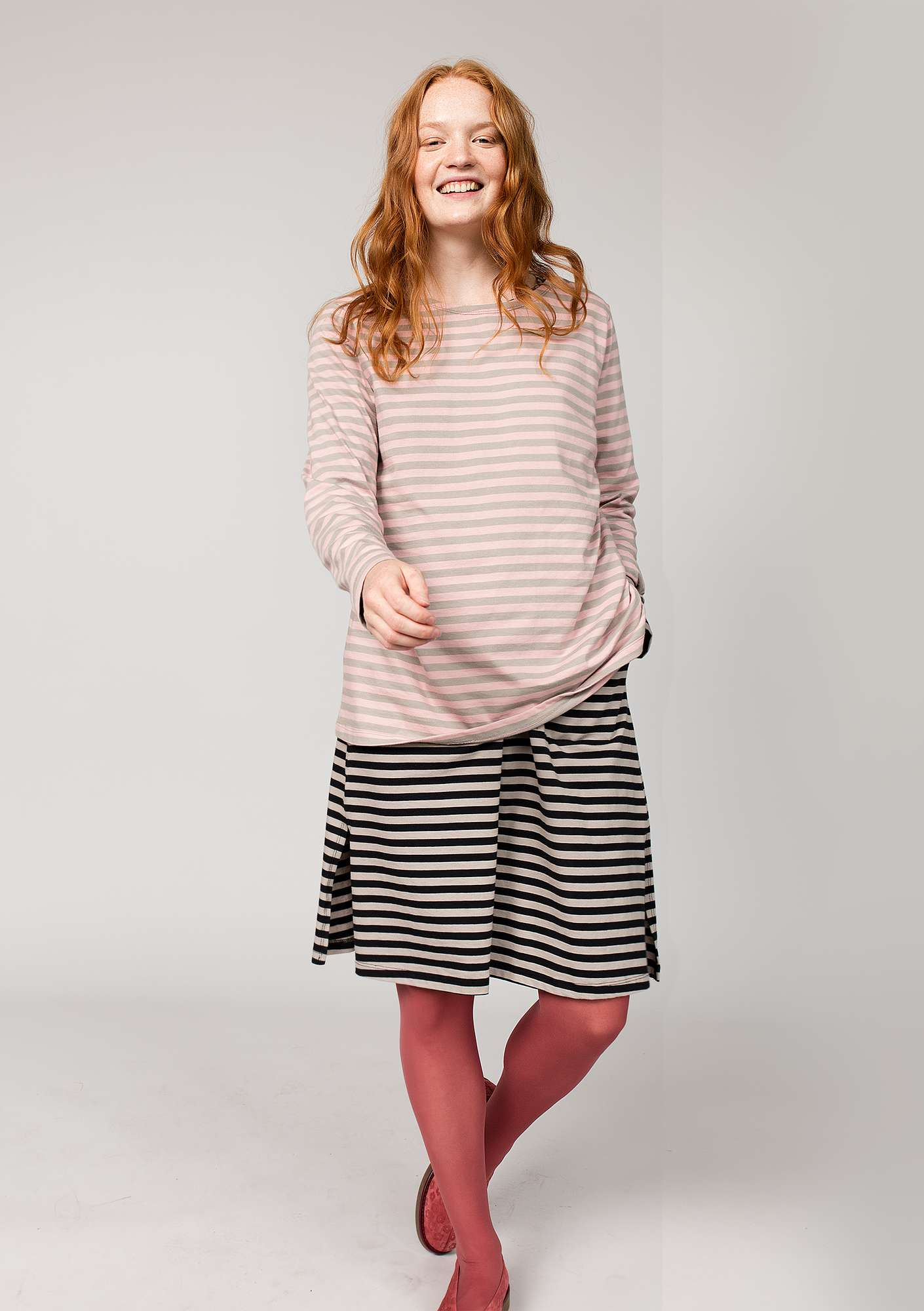 Striped top in organic cotton powder pink/light potato